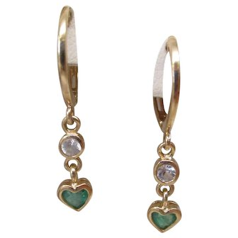 White Sapphire & Heart Emerald 14 Karat Gold Small Hoop Earrings