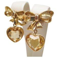 Citrine Heart Dangle 14 Karat Yellow Gold Earrings