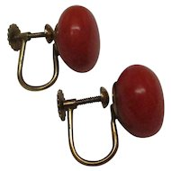 Natural Coral 14 Karat Gold Screw-back Clip-on Earrings