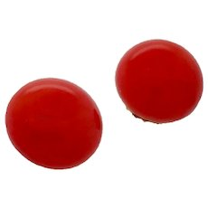 Victorian 18K Yellow Gold Red Coral Button Earrings
