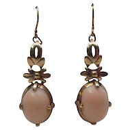 Angel Skin Coral 14 Karat Gold Dangle Earrings