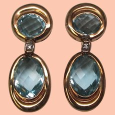 10 Carat Aquamarine Diamond 18 Karat Gold Earrings