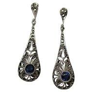 Art Deco Sterling Silver Marcasite Dangle Earrings