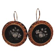 Etruscan Revival Gold Pietra Dura Flower Earrings