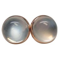 Art Deco 14 Karat Gold Moonstone Button Earrings