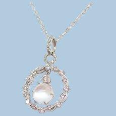 14K White Gold Diamond Moonstone Circle Pendant