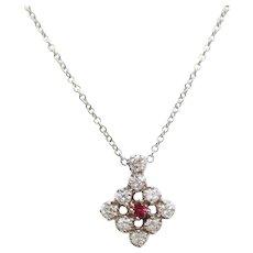 Midcentury 14 Karat White Gold Ruby and Diamond Necklace