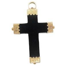 1860 Victorian 14 Karat Yellow Gold and Jet Cross Pendant