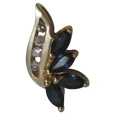 Bird-of-Paradise Sapphire Diamond Pendant  Yellow Gold