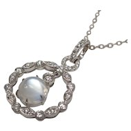Cats Eye Moonstone Diamond 14 Karat White Gold Pendant