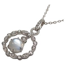 Cats Eye Moonstone Diamond 14 Karat White Gold Pendant