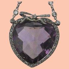 33.12 ct. Heart Shaped Amethyst Pendant with Diamonds Platinum Chain