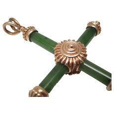 Jade 14 Karat Gold Cross Pendant