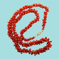Victorian 14K Yellow Gold Natural Red Coral Bead Strand