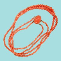 1880 Victorian 14K Yellow Gold Double Strand Coral Necklace