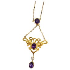 1890 Art Nouveau 18 Karat Yellow Gold Amethyst and Pearl Liberty Style Necklace