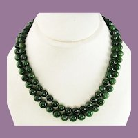 Midcentury Double Strand Jade Necklace with 14 Karat Gold Clasp