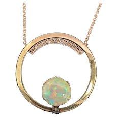 1920 Art Deco 14 Karat Yellow Gold Diamond and Opal Circle Necklace