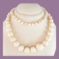1950s Graduated White Coral Bead Necklace Beads
