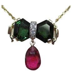 14 Karat Gold Green Tourmaline Rubelite Tourmaline Diamond Necklace
