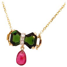 Green Tourmaline Rubelite Tourmaline Diamond 14 Karat Gold Necklace