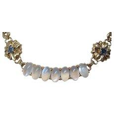 Montana Sapphire Moonstone 14 Karat Gold Necklace