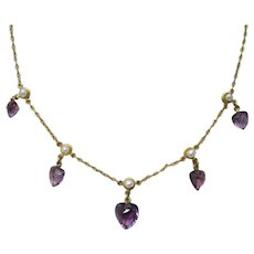 Edwardian Amethyst Pearl 14K Yellow Gold Necklace