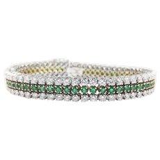 Vintage 18K White and Yellow Gold Diamond Emerald Line Bracelet