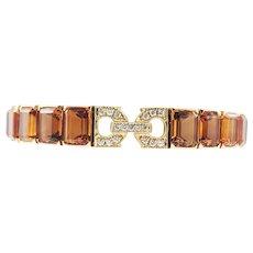 Designer 18K Yellow Gold Citrine Diamond Bracelet