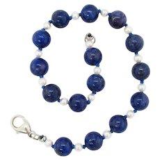 Midcentury Lapis and Pearl Bracelet