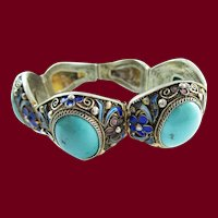 1915 Art Deco Sterling Silver Turquoise and Enamel Bracelet
