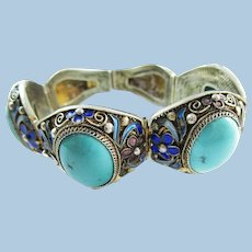 1915 Art Deco Sterling Silver Turquoise and Enamel Bracelet