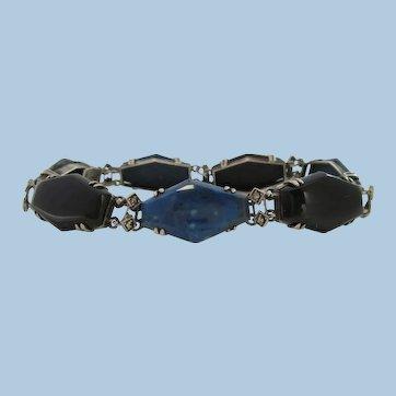 1915 Art Deco Sterling Silver Jasper Black Onyx Marcasite Bracelet
