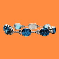 18 Karat White Gold Diamond Blue Topaz Statement Bracelet