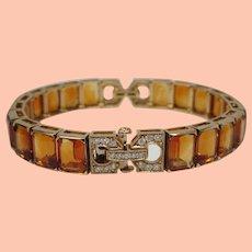 Citrine Diamond 18 Karat Yellow Gold Bracelet
