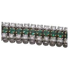 18K Yellow & White Gold Emerald and Diamond  Line Bracelet