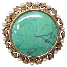 Victorian Natural Pearl Turquoise 14 Karat Gold Pin Pendant Watch Holder