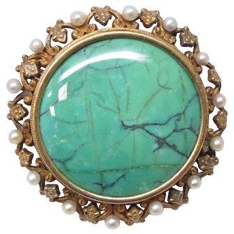 Victorian Natural Pearl Turquoise 14 Karat Gold Pin Pendant Watch Holder