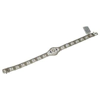 Art Deco Diamond Sapphire Filigree White Gold Bracelet