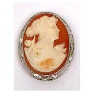 Vintage 14K Filigree Gold Shell Cameo Pin Pendant Brooch