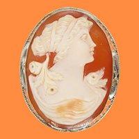 Vintage 14K White Gold Shell Cameo Filigree Brooch