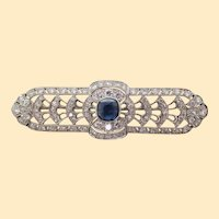 Art Deco Platinum No Heat Blue Sapphire and Diamond Architectural Bar Pin