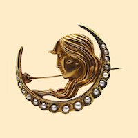 Art Nouveau 14K Yellow Gold and Pearl Crescent Pin