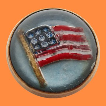 WWI 10K Yellow Gold American Flag Reverse Carved Crystal Victory Pin