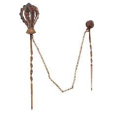 1875 Victorian 14K Rose Gold Czech Red Garnet Stick Pin