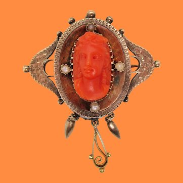 1890 Victorian 14K Rose Gold Pearl Red Coral Cameo Pin Pendant