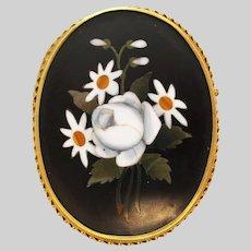 1860 Victorian 18K Yellow Gold Pietra Dora Pin Pendant