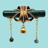 Victorian 18K Yellow Gold and Malachite Etruscan Revival Dangle Pin