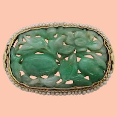 1910 Arts and Crafts 14K Yellow Gold Carved Jade and Seed Pearl Brooch