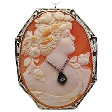 1920s Filigree Three Color Shell Cameo in 14K White Gold Diamond Pin Pendant